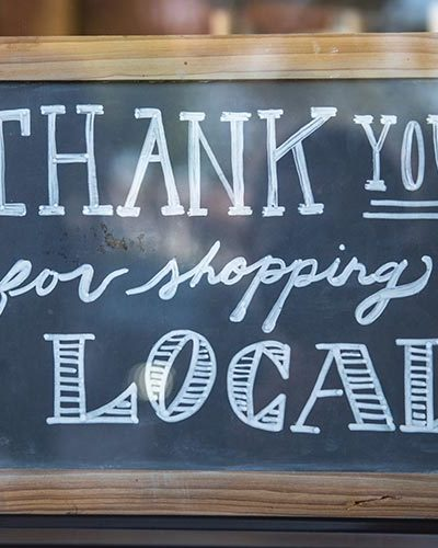 photo of thank you for shopping local sign